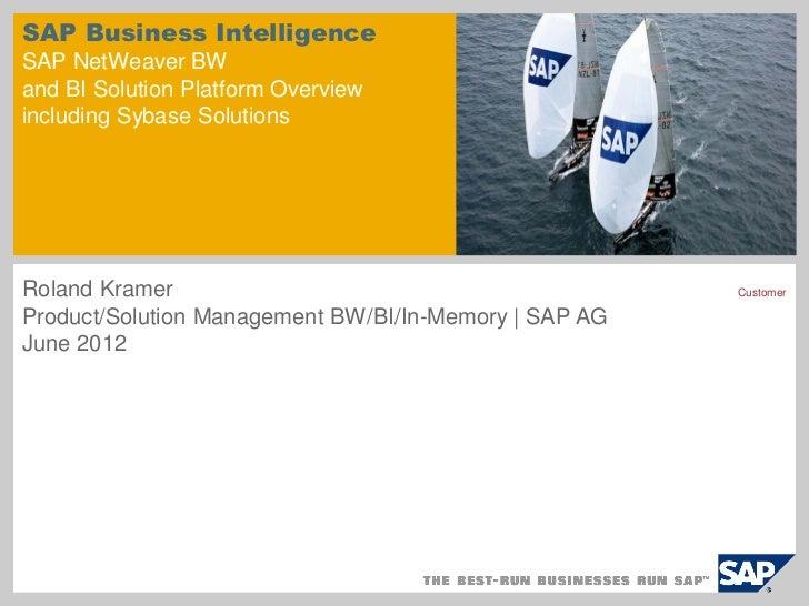 SAP Business IntelligenceSAP NetWeaver BWand BI Solution Platform Overviewincluding Sybase SolutionsRoland Kramer         ...