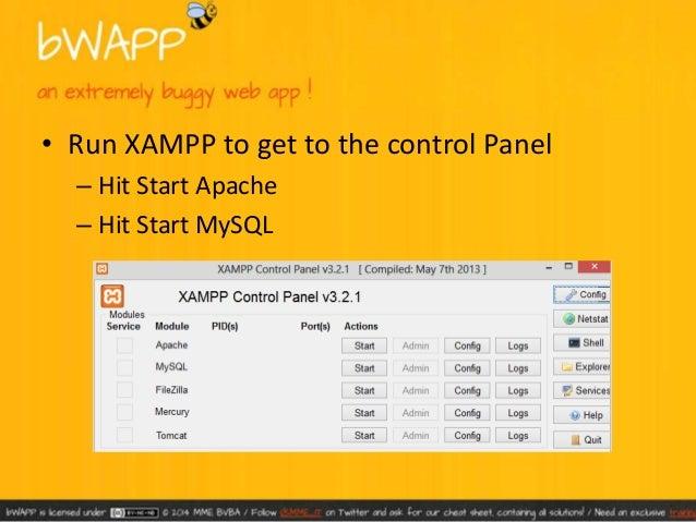 • Unzip bWAPP, copy and its full contents into  C:xampphtdocs