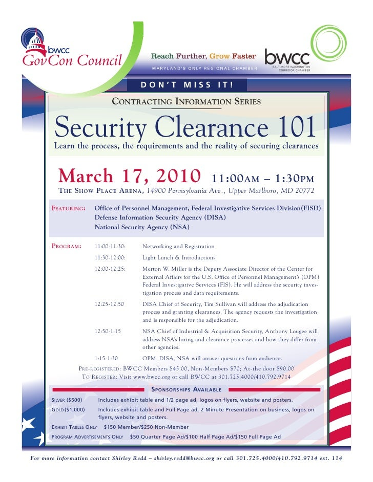 DON'T MISS IT!                                   CONTRACTING INFORMATION SERIES           Security Clearance 101         L...