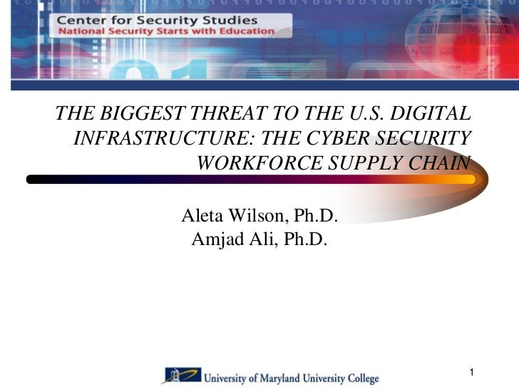 THE BIGGEST THREAT TO THE U.S. DIGITAL INFRASTRUCTURE: THE CYBER SECURITY             WORKFORCE SUPPLY CHAIN           Ale...