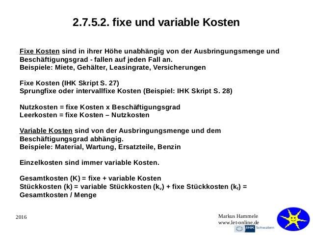 45 - Kostenrechnung Beispiele