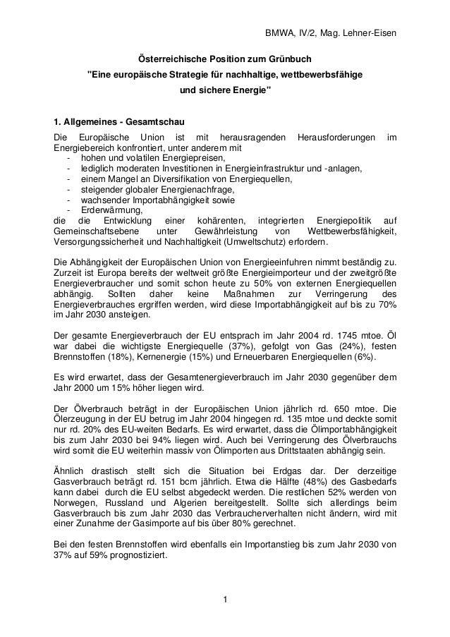 """BMWA, IV/2, Mag. Lehner-Eisen 1 Österreichische Position zum Grünbuch """"Eine europäische Strategie für nachhaltige, wettbew..."""