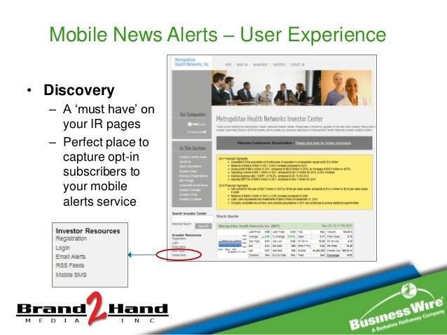 Mobile Alerts For Investor Relations