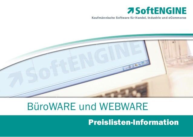 Kaufmännische Software für Handel, Industrie und eCommerce  BüroWARE und WEBWARE Preislisten-Information
