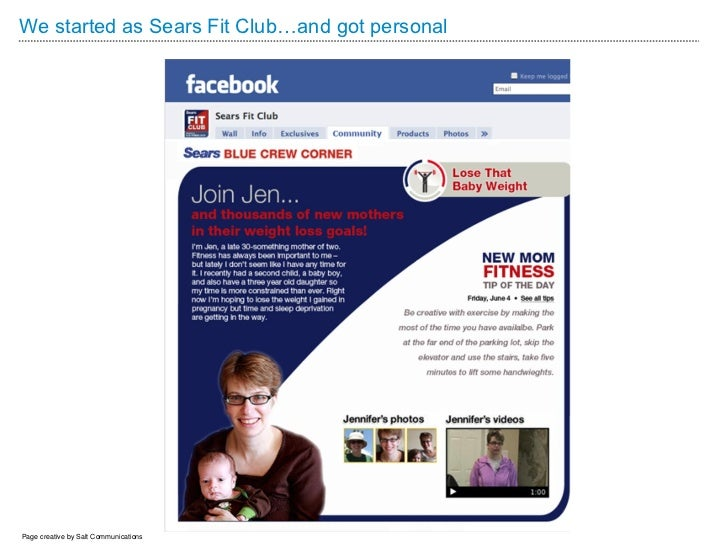We started as Sears Fit Club…and got personalPage creative by Salt Communications