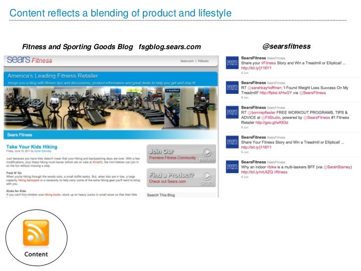 Content reflects a blending of product and lifestyle  Fitness and Sporting Goods Blog fsgblog.sears.com    @searsfitness