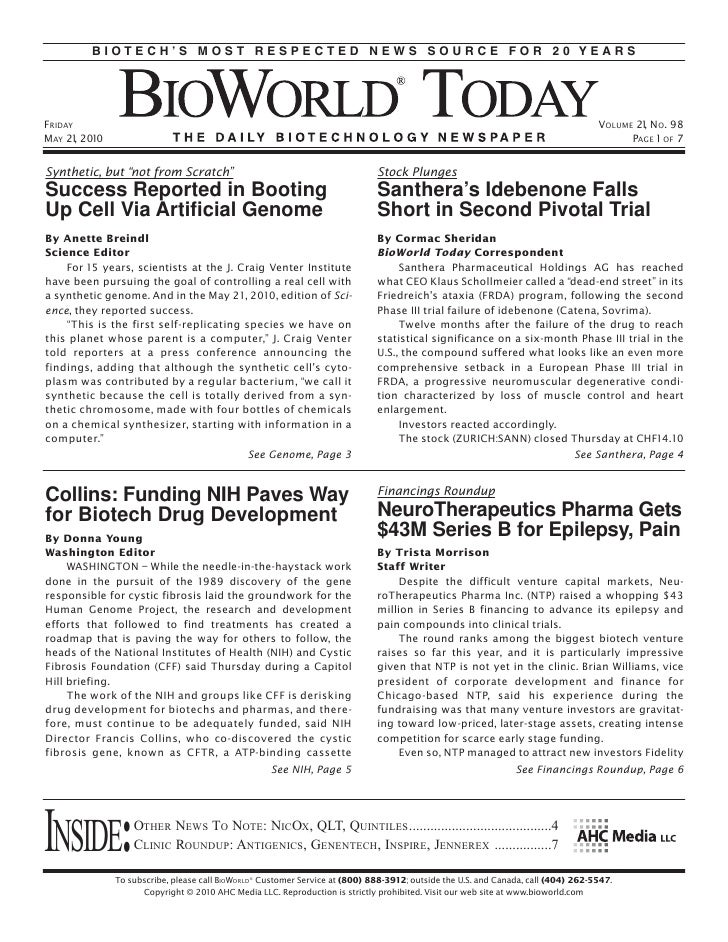 BIOTECH'S MOST RESPECTED NEWS SOURCE FOR 20 YEARS     FRIDAY                                                              ...