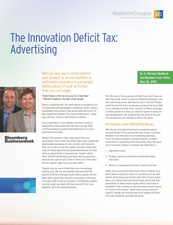 The Innovation Deficit Tax:Advertising       Want an easy way to know whether                                             ...