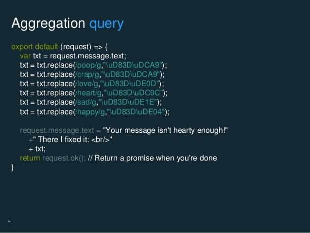 """10 Aggregation query export default (request) => { var txt = request.message.text; txt = txt.replace(/poop/g,""""uD83DuDCA9"""")..."""