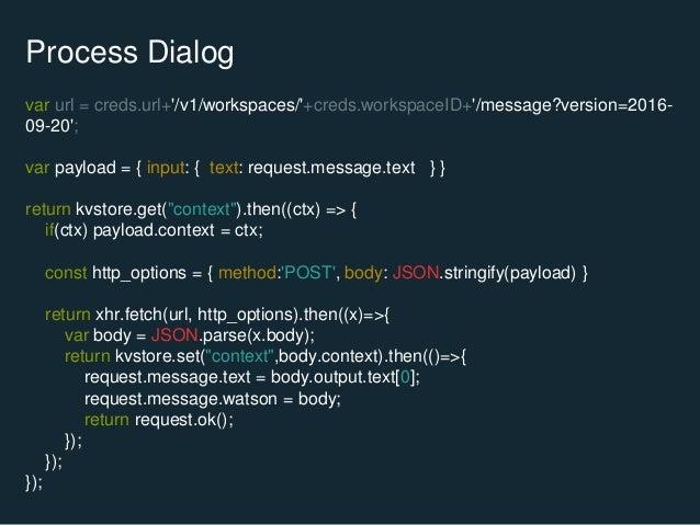 Process Dialog var url = creds.url+'/v1/workspaces/'+creds.workspaceID+'/message?version=2016- 09-20'; var payload = { inp...
