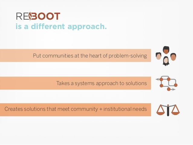is a different approach. Put communities at the heart of problem-solving Takes a systems approach to solutions Creates sol...