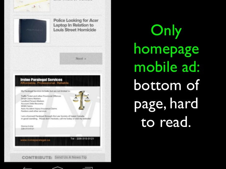 5. Fill unused ad slots   with network ads• Ad server probably needed for this.• Xad & YP.com offer best local mobile  ban...