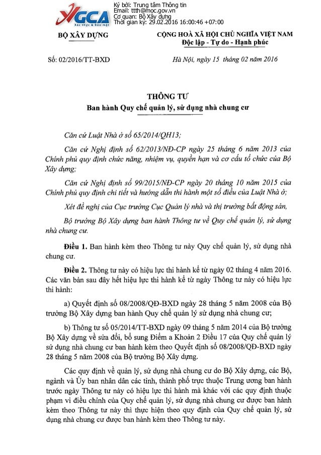 Ký bởi: Trung tâm Thông tin Email: ttth@moc.gov.vn Cơ quan: Bộ Xây dựng Thời gian ký: 29.02.2016 16:00:46 +07:00
