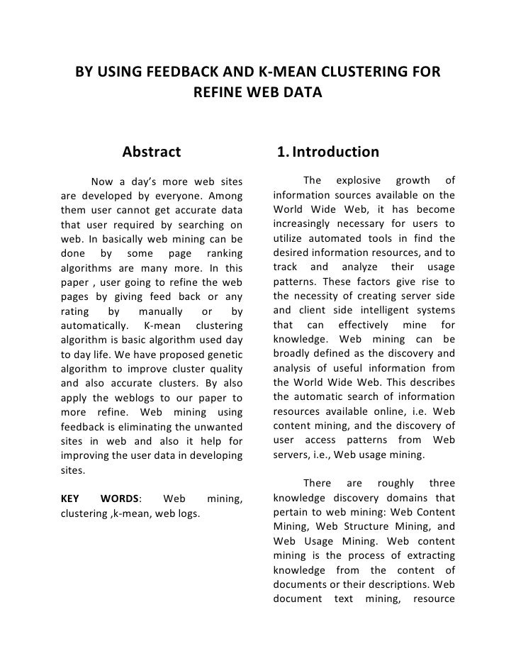 BY USING FEEDBACK AND K-MEAN CLUSTERING FOR                REFINE WEB DATA            Abstract                    1. Intro...