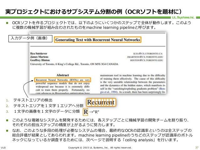 ULS Copyright © 2015 UL Systems, Inc. All rights reserved.  OCRソフトを作るプロジェクトでは、以下のようにいくつかのステップで全体が動作します。このよう に複数の機械学習が組み合わ...
