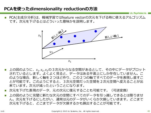 ULS Copyright © 2015 UL Systems, Inc. All rights reserved. PCAを使ったdimensionality reductionの方法  PCA(主成分分析)は、機械学習ではfeature ...