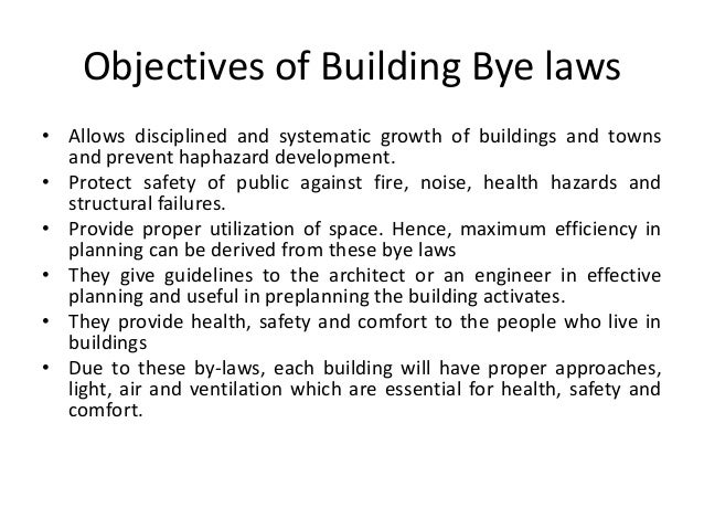 Bye laws for Construction rules and regulations