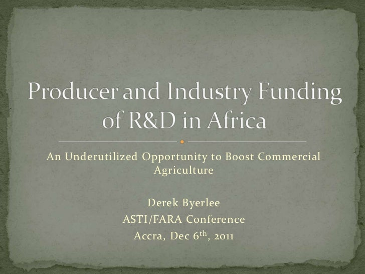 An Underutilized Opportunity to Boost Commercial                  Agriculture                 Derek Byerlee             AS...