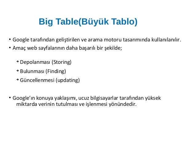 Büyük Tablo Kullanımının Avantajları ● Özel bir sorgulama diline (query language) ihtiyaç duyulmaz ve dolayısıyla sorgulam...