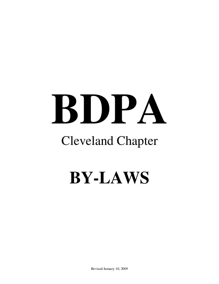 BDPACleveland Chapter BY-LAWS     Revised January 10, 2009