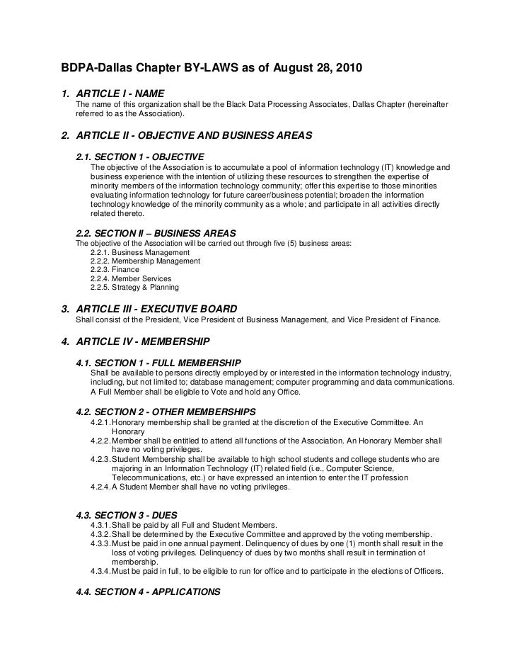 BDPA-Dallas Chapter BY-LAWS as of August 28, 20101. ARTICLE I - NAME  The name of this organization shall be the Black Dat...