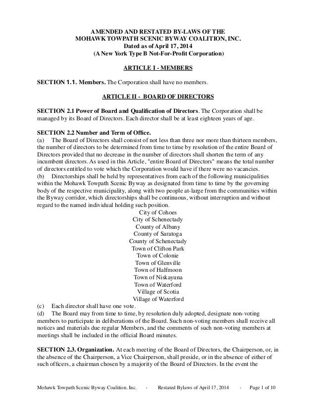 AMENDED AND RESTATED BY-LAWS OF THE MOHAWK TOWPATH SCENIC BYWAY COALITION, INC. Dated as of April 17, 2014 (A New York Typ...
