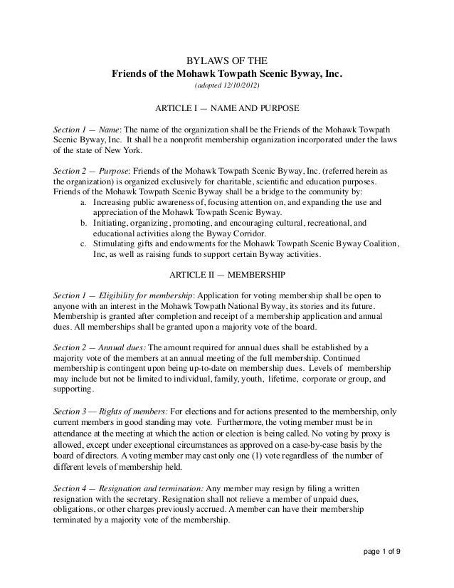 BYLAWS OF THE Friends of the Mohawk Towpath Scenic Byway, Inc. (adopted 12/10/2012) ARTICLE I — NAME AND PURPOSE Section 1...