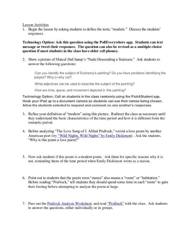 Prufrock Analysis Worksheet Sharebrowse – Song Analysis Worksheet
