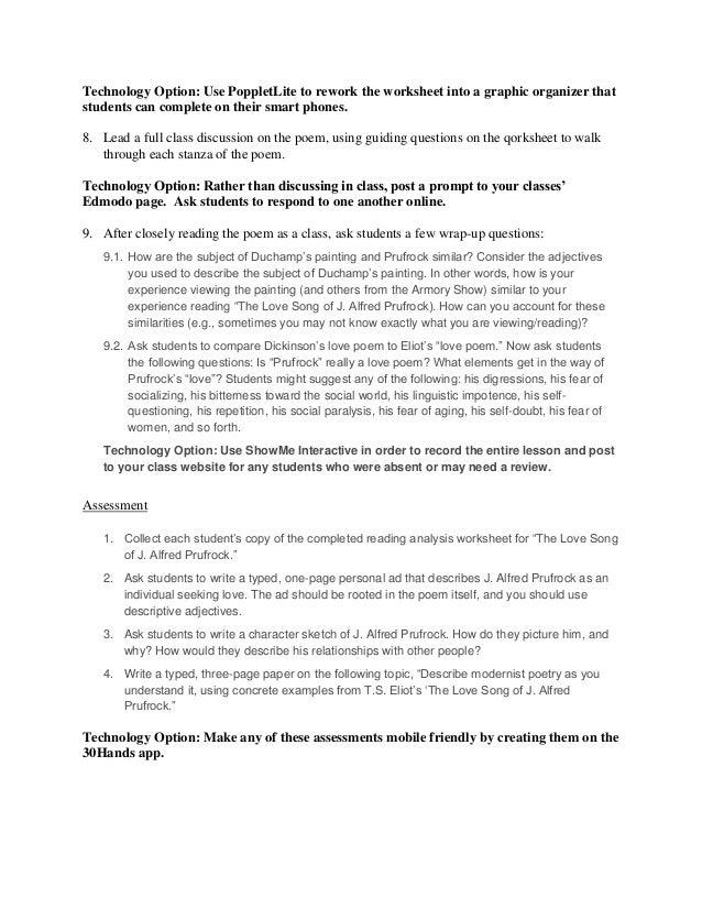 prufrock analysis worksheet Termolak – Prufrock Analysis Worksheet