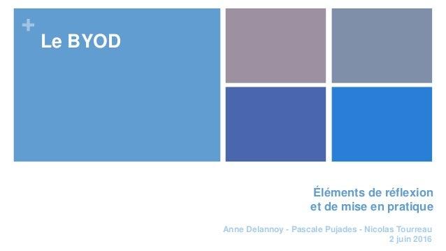 + Éléments de réflexion et de mise en pratique Le BYOD Anne Delannoy - Pascale Pujades - Nicolas Tourreau 2 juin 2016