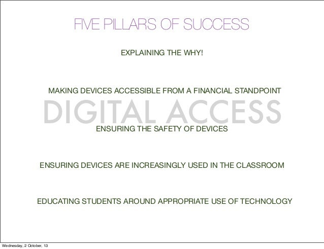 FIVE PILLARS OF SUCCESS EXPLAINING THE WHY! MAKING DEVICES ACCESSIBLE FROM A FINANCIAL STANDPOINT EDUCATING STUDENTS AROUN...