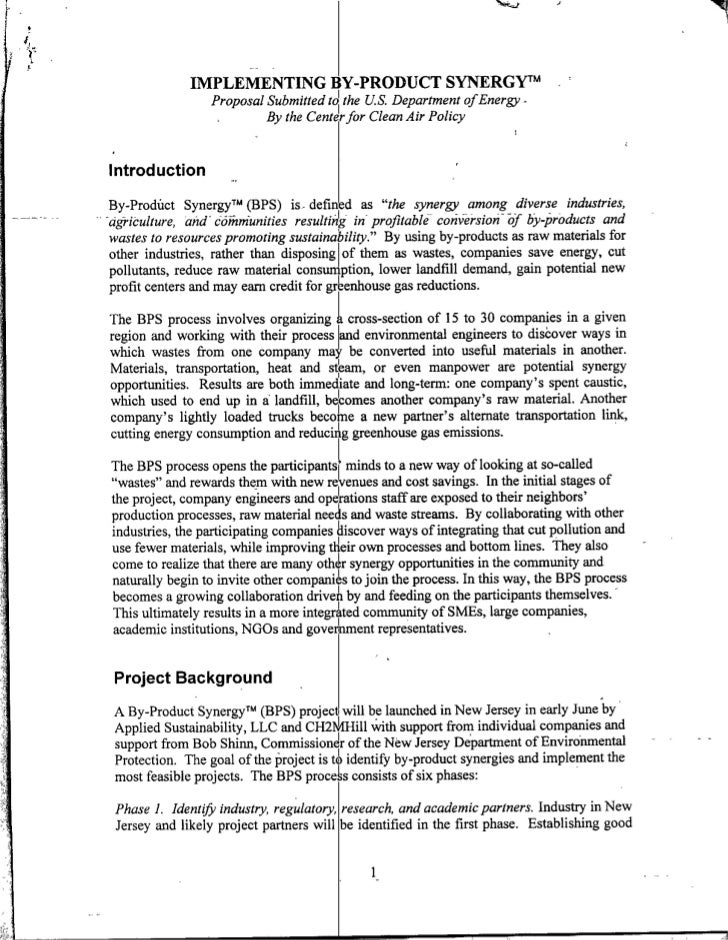IMPLEMENTING BY-PRODUCT SYNERGW~m                   ProposalSubmittedto the US. Department ofEnergy-                      ...
