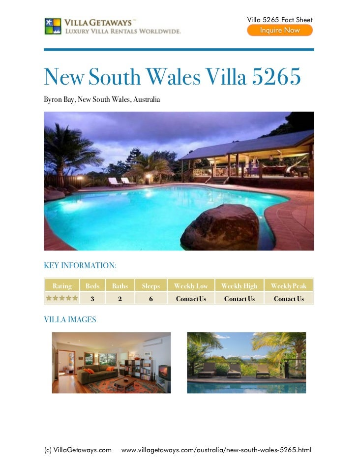 Villa 5265 Fact SheetNew South Wales Villa 5265Byron Bay, New South Wales, AustraliaKEY INFORMATION:  Rating     Beds     ...