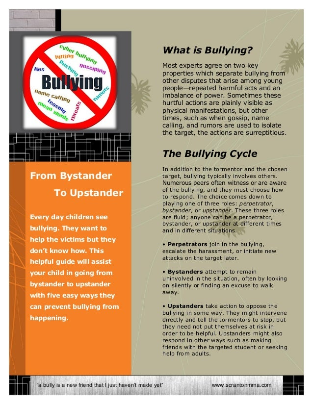 What is Bullying?Most experts agree on two keyproperties which separate bullying fromother disputes that arise among young...