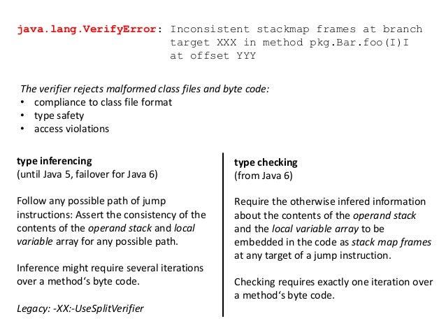 java.lang.VerifyError: Inconsistent stackmap frames at branch target XXX in method pkg.Bar.foo(I)I at offset YYY type infe...