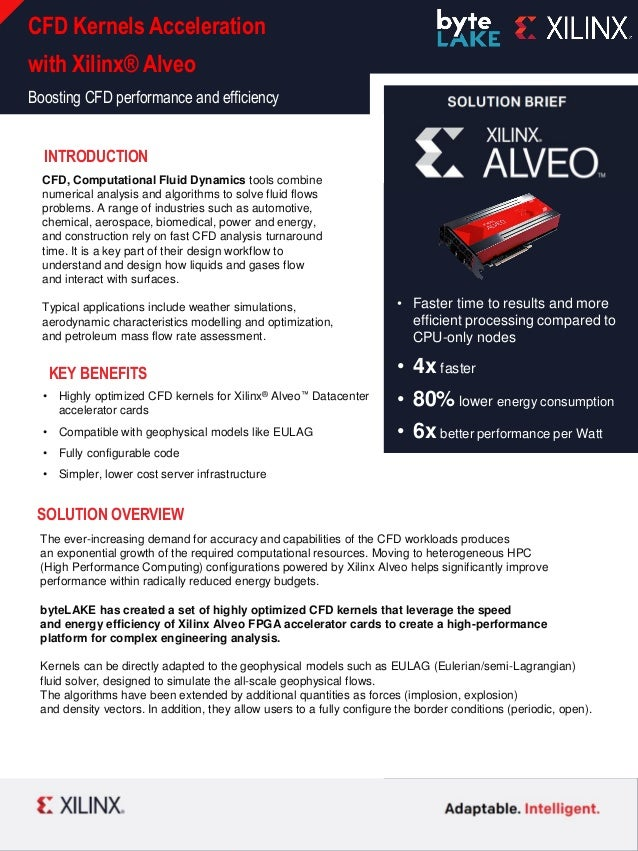 XILINX INTERNAL CFD Kernels Acceleration with Xilinx® Alveo Boosting CFD performance and efficiency • Faster time to resul...