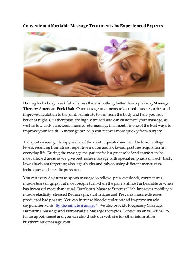 Convenient Affordable Massage Treatments by ExperiencedExperts Having had a busy week full of stress there is nothing bett...