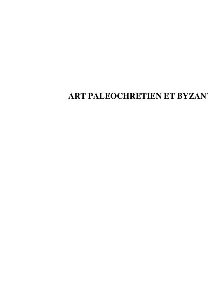 ART PALEOCHRETIEN ET BYZANTIN