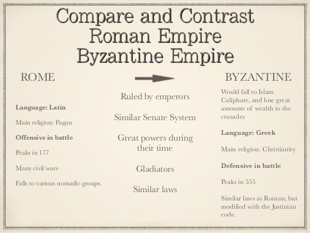 compare and contrast byzantine empire with western europe Compare and contrast medieval european society in this comparison essay we will compare and contrast  the medieval society in europe and byzantine empire had.