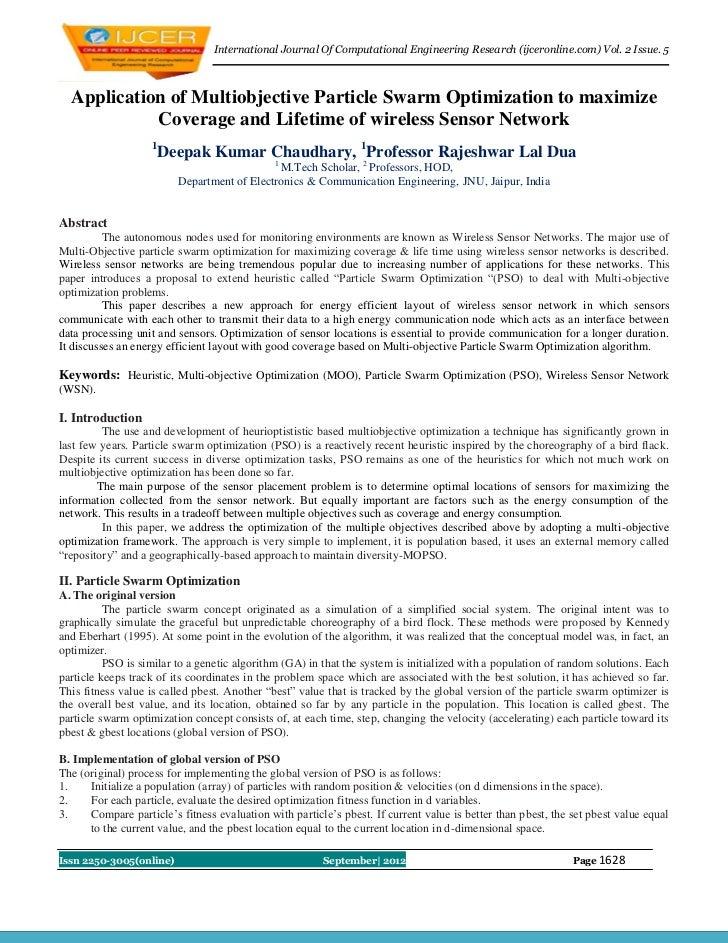 International Journal Of Computational Engineering Research (ijceronline.com) Vol. 2 Issue. 5  Application of Multiobjecti...