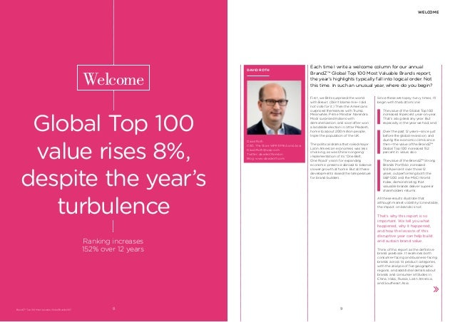 Each time I write a welcome column for our annual BrandZ™ Global Top 100 Most Valuable Brands report, the year's highlight...
