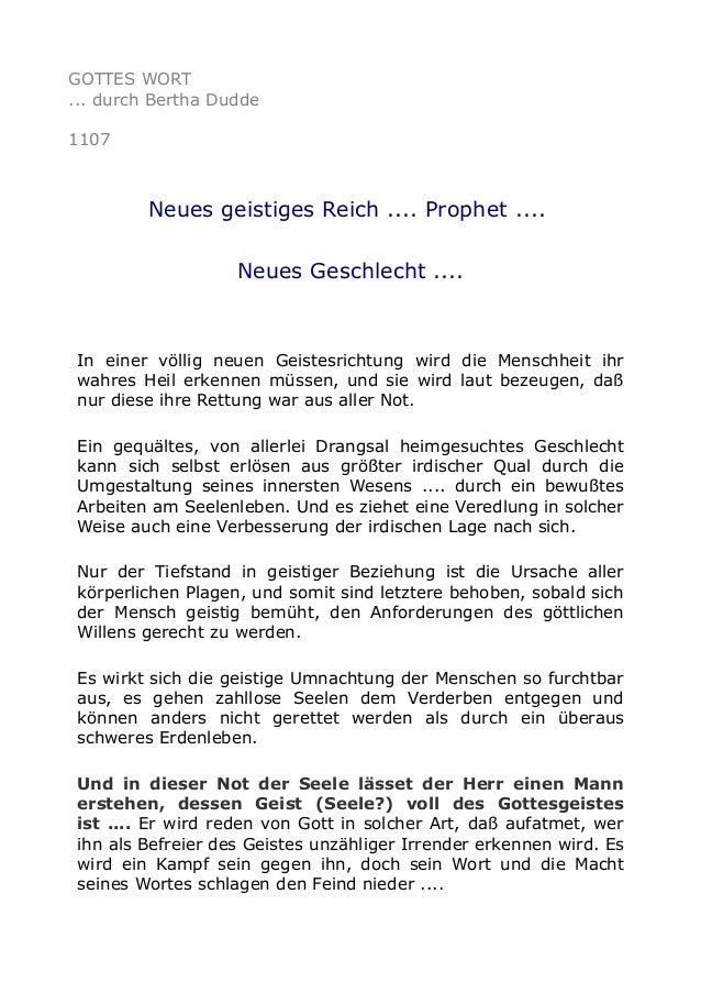 GOTTES WORT ... durch Bertha Dudde 1107 Neues geistiges Reich .... Prophet .... Neues Geschlecht .... In einer völlig neue...