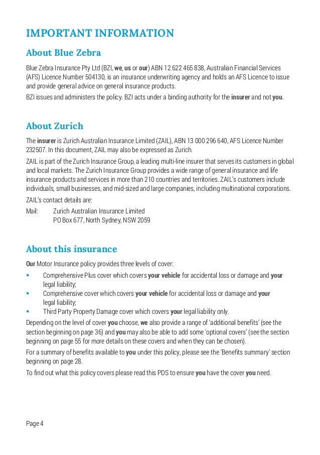 Blue Zebra Insurance Motor Pds