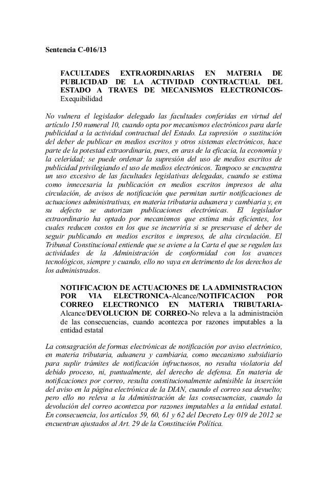 Sentencia C-016/13 FACULTADES EXTRAORDINARIAS EN MATERIA DE PUBLICIDAD DE LA ACTIVIDAD CONTRACTUAL DEL ESTADO A TRAVES DE ...