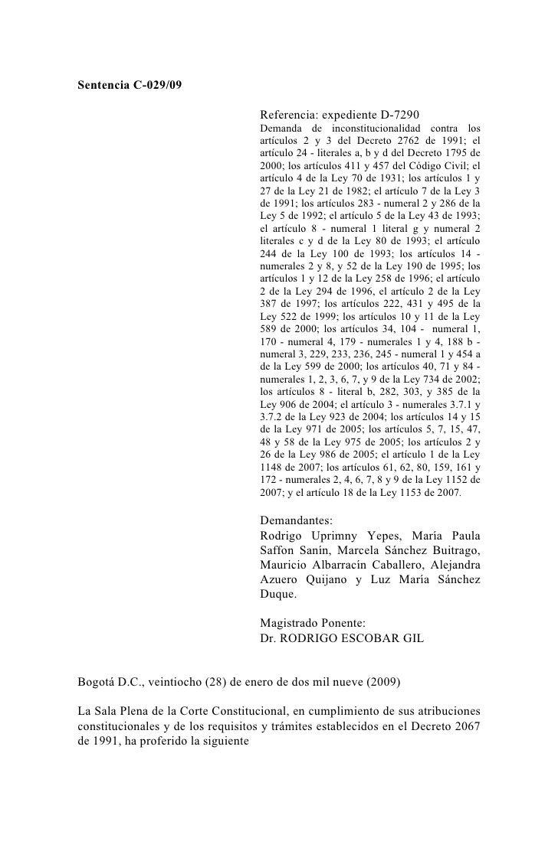 Sentencia derechos de parejas del mismo sexo Colombia (C-029 de 2009)