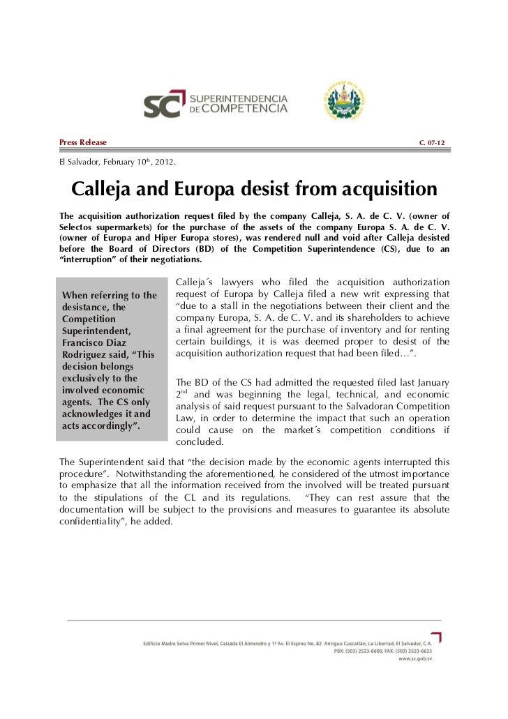 Press Release                                                                           C. 07-12El Salvador, February 10th...