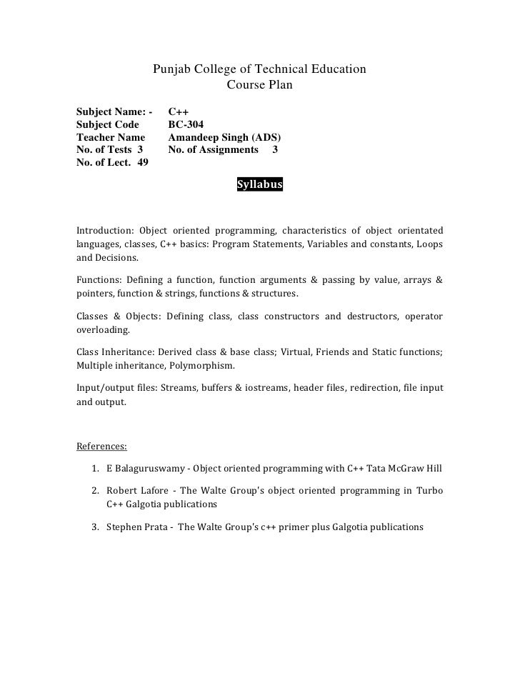 Punjab College of Technical Education<br />Course Plan<br />Subject Name: -C++<br />Subject CodeBC-304<br />Teacher NameAm...