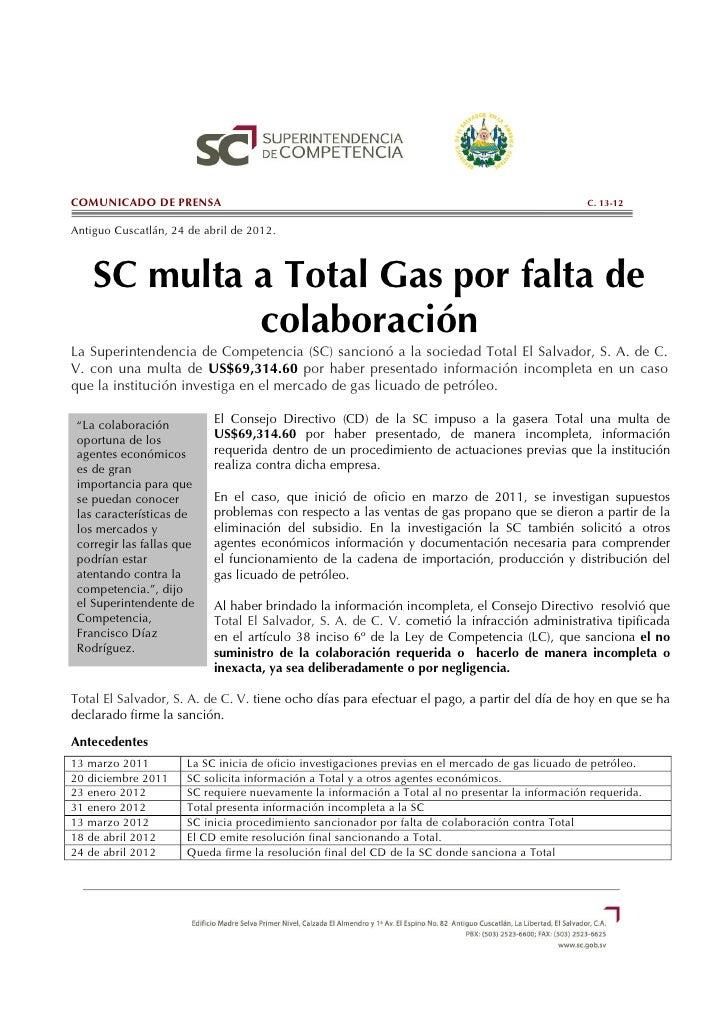 COMUNICADO DE PRENSA                                                                               C. 13-12Antiguo Cuscatl...