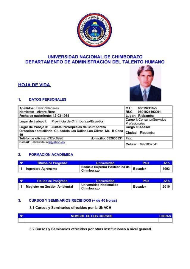 UNIVERSIDAD NACIONAL DE CHIMBORAZO DEPARTAMENTO DE ADMINISTRACIÓN DEL TALENTO HUMANO HOJA DE VIDA 1. DATOS PERSONALES Apel...