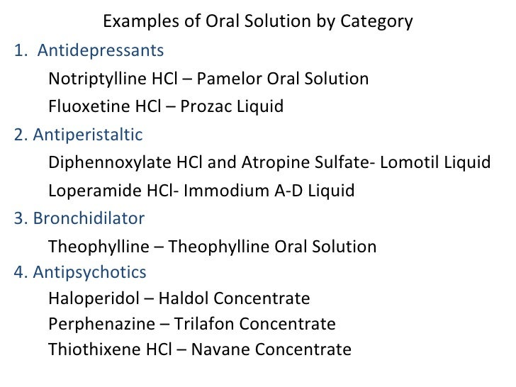 Pharmaceuticals Solutions Dosage Form